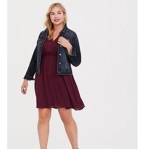Torrid Harper burgundy georgette shirt dress sz 2